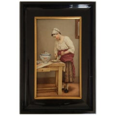 Woman Grating Cheese, Painting Oil on Porcelain Plaque