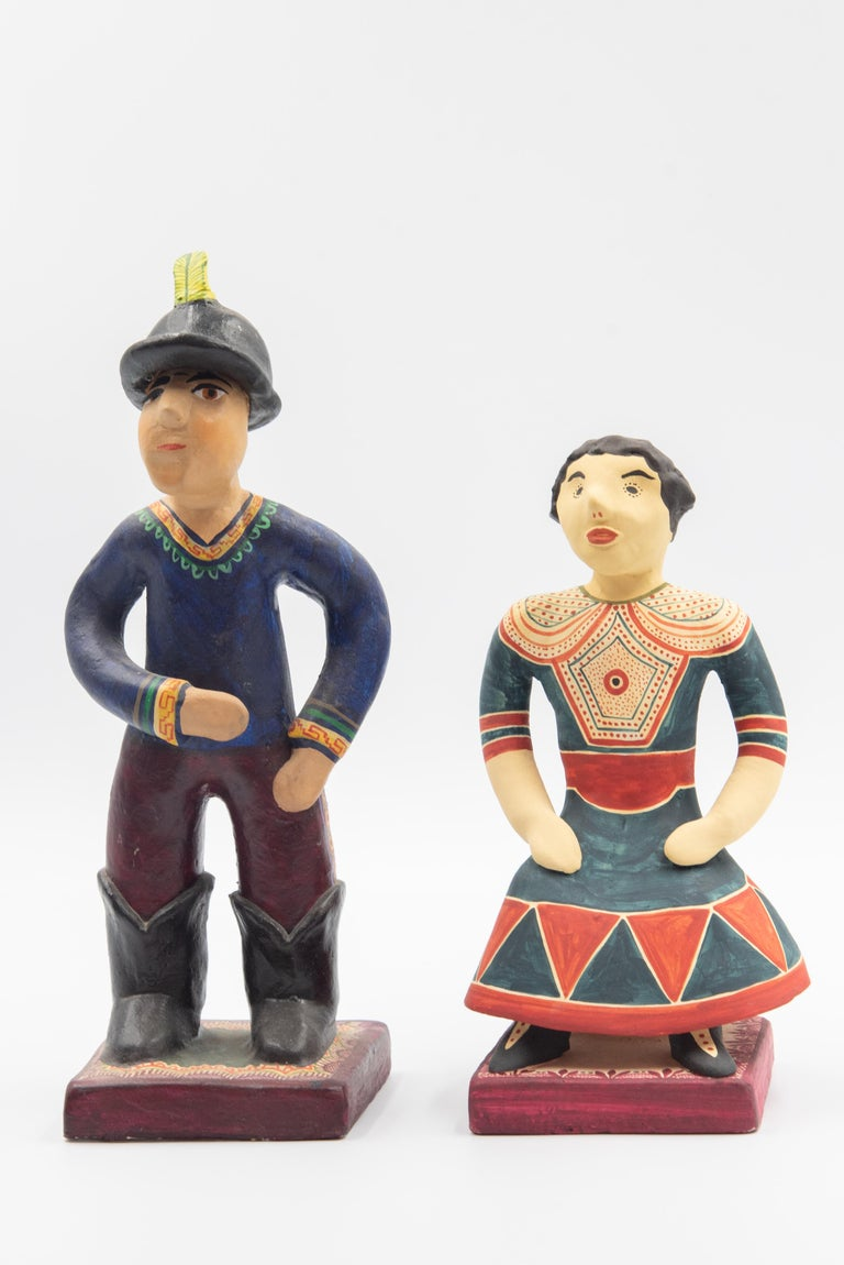 These colorful Folk Art statues are pieces inspired by the collection by Catalina Orta Uroza de Castillo in the 1950s-- displayed in the Museum of International Folk Art in New Mexico. Made in Izucar de Matamoros by her daughter in law, Soledad