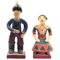 Woman & Hacienda Owner Farmer Mexican Folk Art 1950s Replica Izucar Matamoros