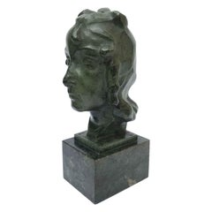 Woman Head Italian Bronze Sculpture Entitled Llucia by Ravasio, 1942