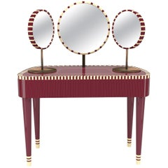 Woman in Paris Burgundy and White Vanity Table by Matteo Cibic