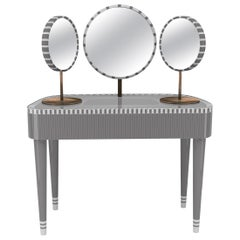 Woman in Paris Gray and White Vanity Table by Matteo Cibic
