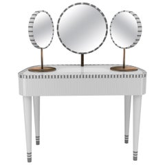 Woman in Paris White and Gray Vanity Table by Matteo Cibic