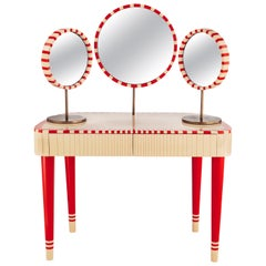 Woman in Paris Red and White Vanity Table by Matteo Cibic