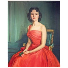 """Woman in Red,"" Brilliant, Large Mid-Century Female Portrait in Candy Apple Red"