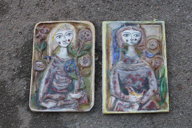 Woman on Majolica Tile Giovanni de Simone 1960s Italian Design For Sale 7