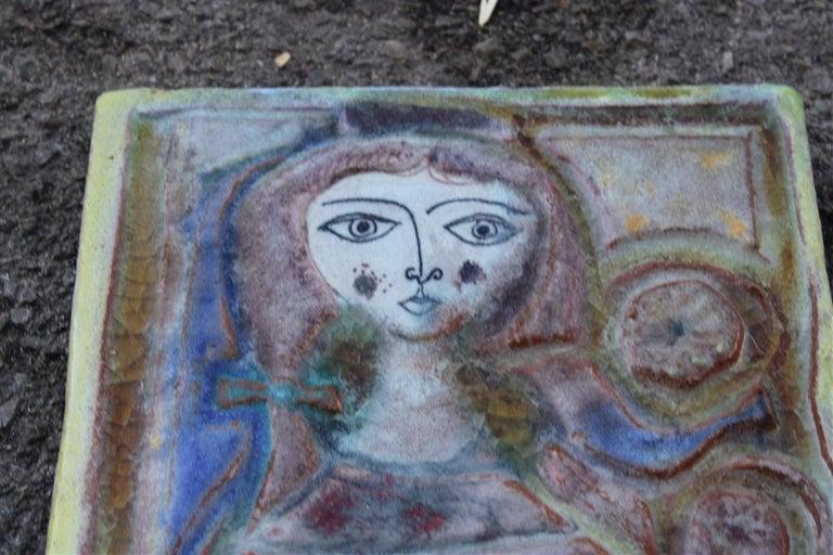 Woman on Majolica tile Giovanni de Simone 1960s Italian design.