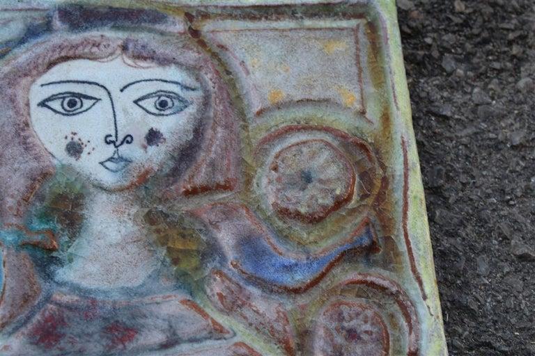 Woman on Majolica Tile Giovanni de Simone 1960s Italian Design For Sale 2