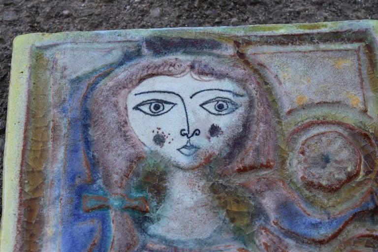 Woman on Majolica Tile Giovanni de Simone 1960s Italian Design For Sale 3