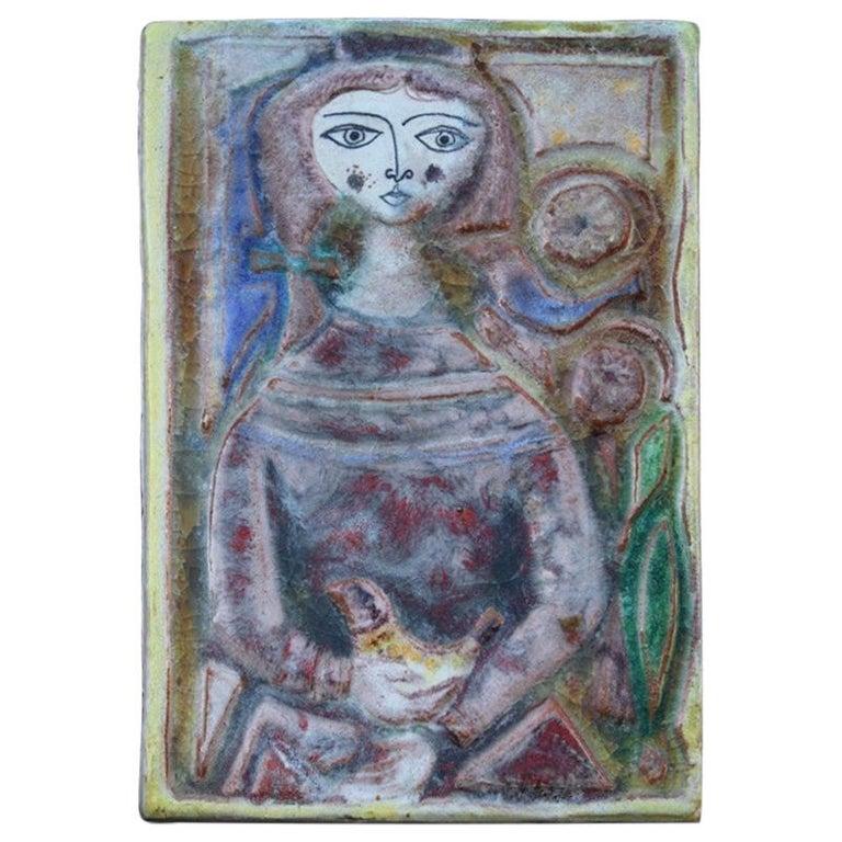 Woman on Majolica Tile Giovanni de Simone 1960s Italian Design For Sale