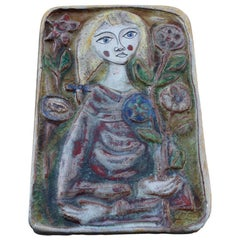 Woman on Majolica Tile Giovanni de Simone 1960s Italian Design