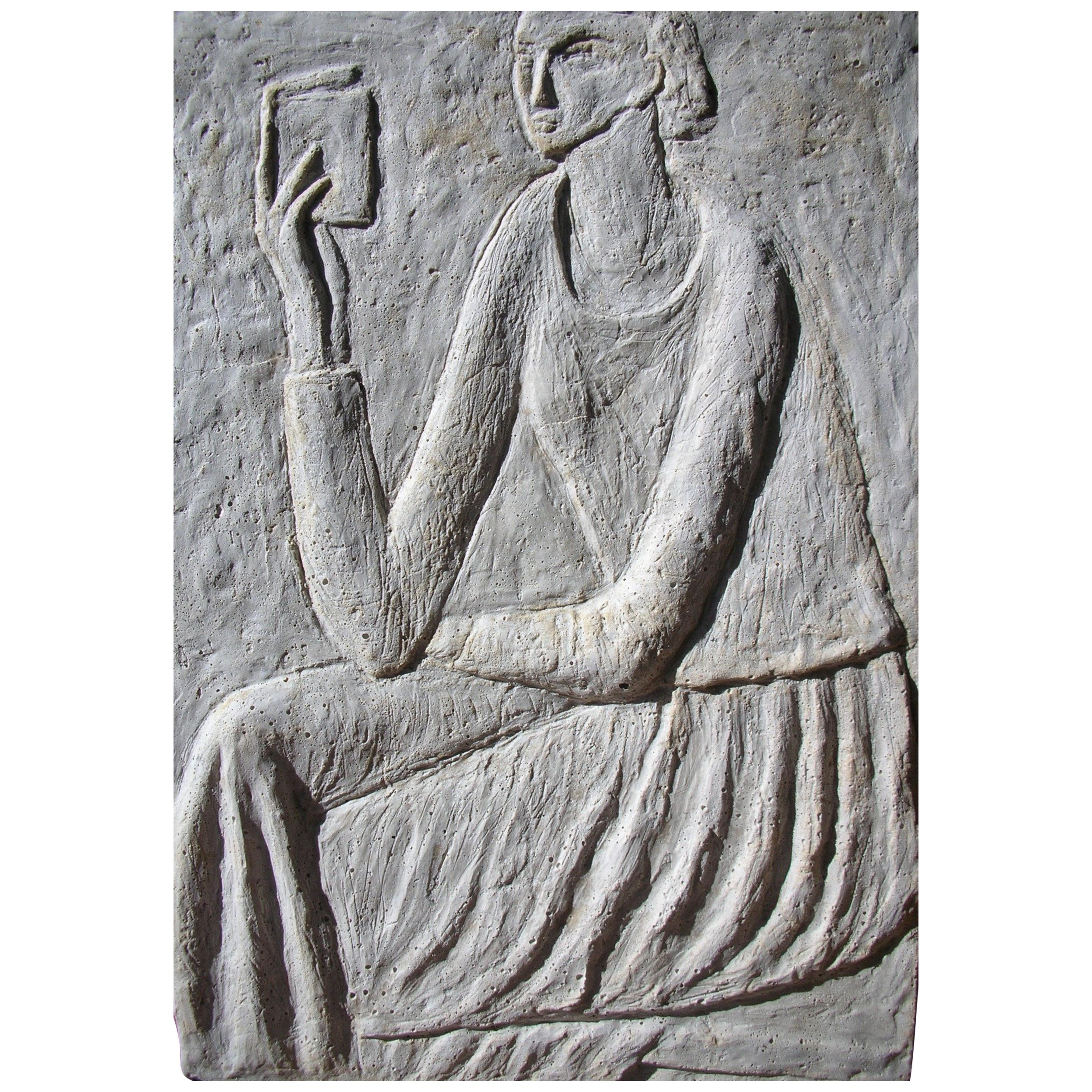 """""""Woman Reading"""" Concrete Bas Relief by Ruth Addinall"""