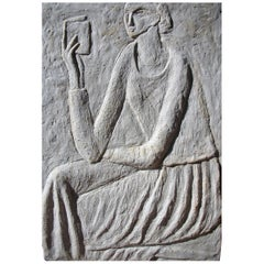 """Woman Reading"" Concrete Bas Relief by Ruth Addinall"