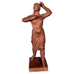 Woman Terracotta Sculpture by Sculptist Olcsai-Kiss, 1960s