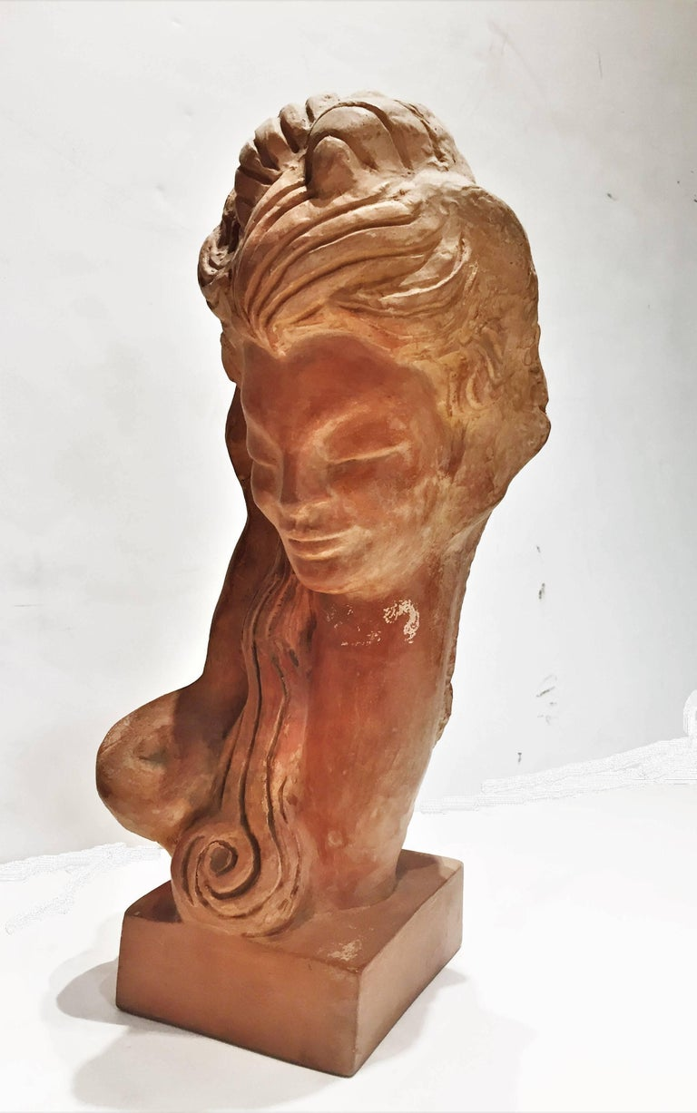 Hand-Crafted Woman's Head, American Mid-Century Modern Terracotta Sculpture, 1950s For Sale