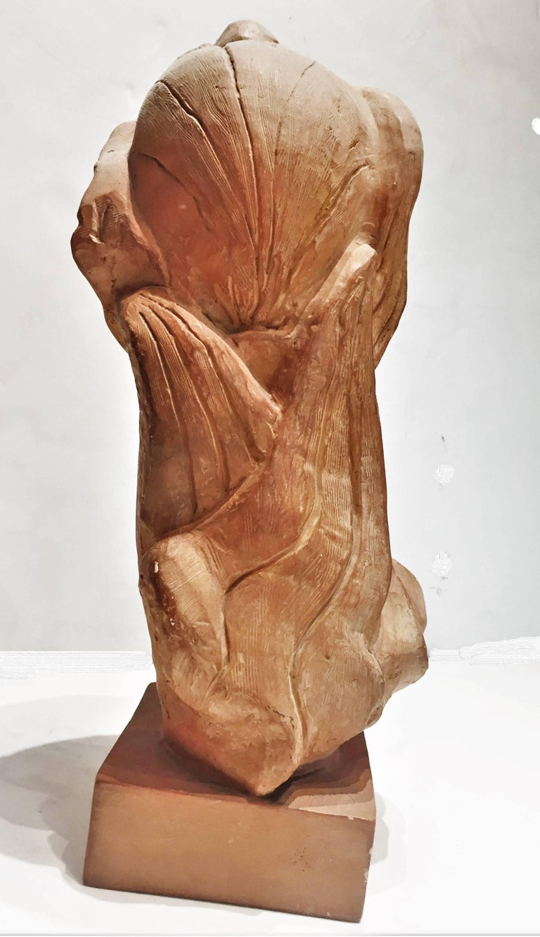 Woman's Head, American Mid-Century Modern Terracotta Sculpture, 1950s For Sale 1