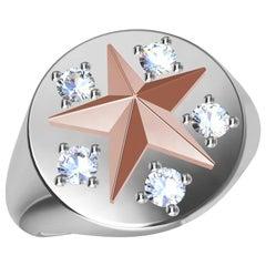Womans Platinum and 18 Karat Pink Gold GIA Diamond Star Signet Ring
