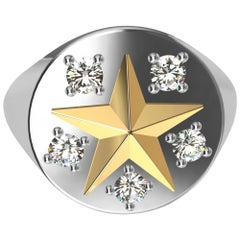 Womans Platinum and 18 Karat Yellow Gold GIA Diamond Star Signet Ring