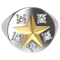 Womans Platinum and 18 Karat Yellow Gold GIA Diamond Star Signet Ring