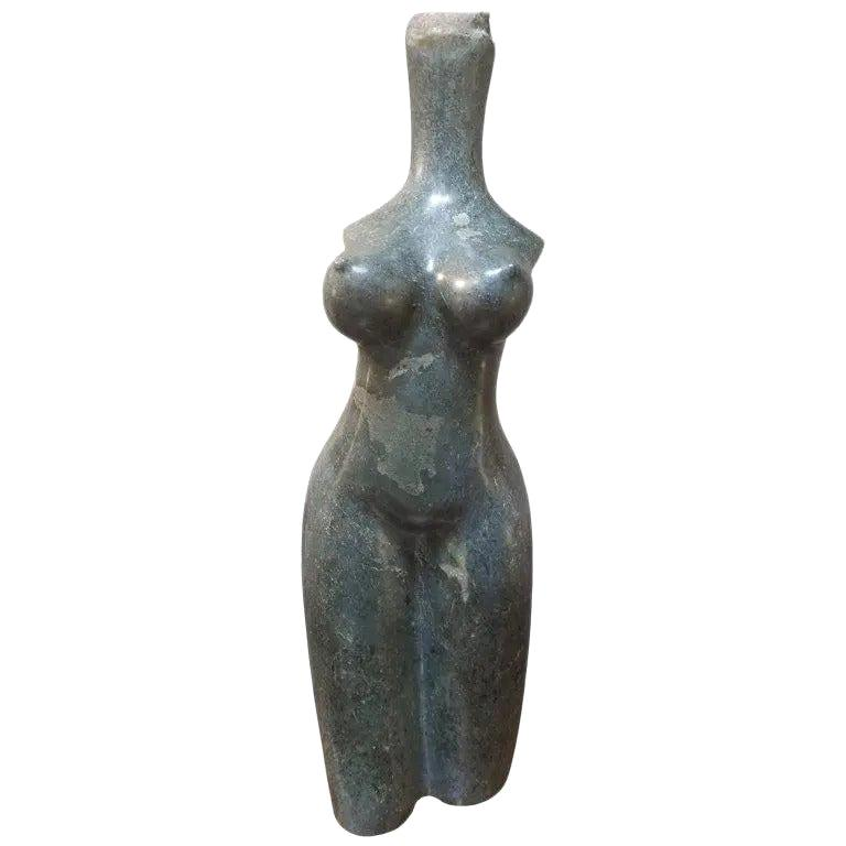 Woman's Torso Carved Stone Sculpture by Robert Chimika