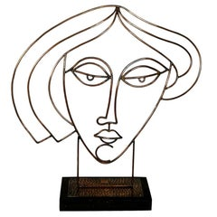 Women Bust by Laszlo Pal Horvath, Copper on Wooden Base, 1970s