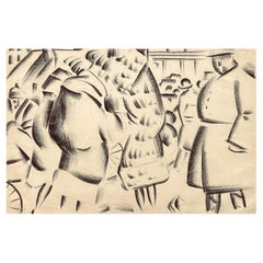 """Women in Furs,"" New York Art Deco-Cubist Street Scene, 1920s, by Reznikoff"