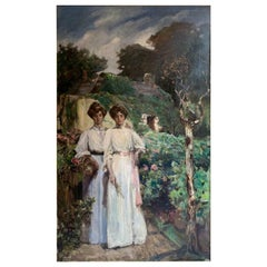 """Women in the Garden"" French School 19th Century Sign"