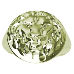 Women's 10 Karat Green Gold Lion Head Signet Ring