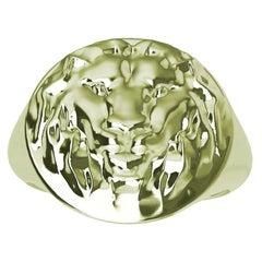 Women's 10 Karat Green Gold Lion Head Signet Ring