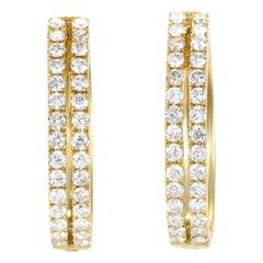 Women's 14 Karat Gold 2-Row Diamond Oval Hoop Earrings AER-12696Y