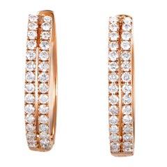 Women's 14 Karat Rose Gold 2-Row Diamond Oval Hoop Earrings AER-12696R
