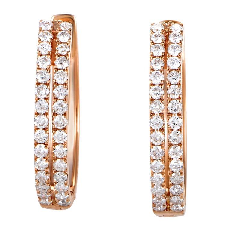 Women's 14 Karat Rose Gold 2-Row Diamond Oval Hoop Earrings AER-12696R For Sale