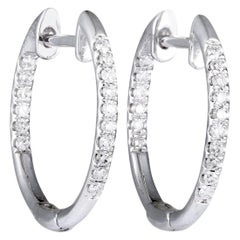Women's 14 Karat White Gold Diamond Pave Hoop Earrings AER-11677W