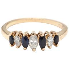Women's 14 Karat Yellow Gold, Diamond and Sapphire Marquise Band Ring