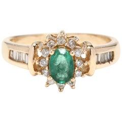 Women's 14 Karat Yellow Gold, Emerald and Diamond Anniversary Ring