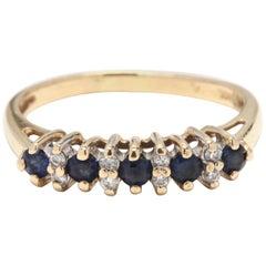 Women's 14 Karat Yellow Gold, Sapphire and Diamond Band Ring