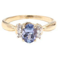 Women's 14 Karat Yellow Gold, Sapphire and Diamond Engagement Ring