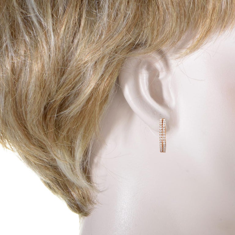 Women's 14 Karat Rose Gold 2-Row Diamond Oval Hoop Earrings AER-12696R In New Condition For Sale In Southampton, PA