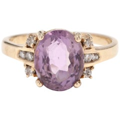 Womens 14KT Yellow Gold, Amethyst & Diamond Ring Band, February Birthstone Ring