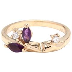 Women's 14KT Yellow Gold, Amethyst & Diamond Vine Ring, February Birthstone Ring