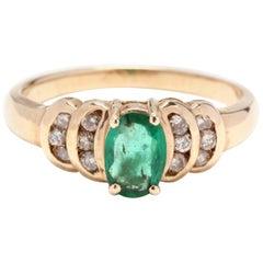 Women's 14KT Yellow Gold, Emerald & Diamond Anniversary Ring, May Birthstone