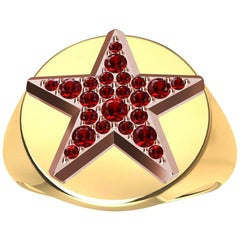 Womens 18 Karat Yellow and 18 Karat Rose Gold Rubies Star Signet Ring