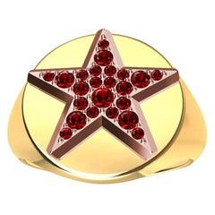 Womens 18 Karat Yellow and 18 Karat Rose Gold Rubies Star Signet Ring