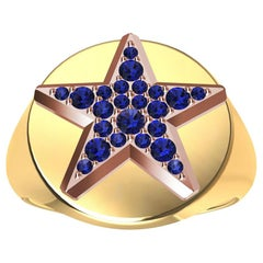 Womens 18 Karat Yellow and 18 Karat Rose Gold Sapphires Star Signet Ring