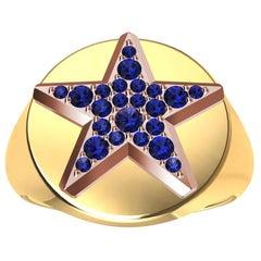 Womens 18 Karat Yellow and 18 Karat Rose Gold Sapphires Star Signet Ring