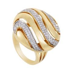 Womens 18 Karat Yellow Gold Diamond Pave Cocktail Ring