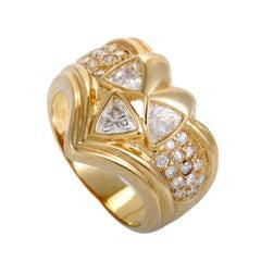 Womens 18K Yellow Gold Diamond Band Ring