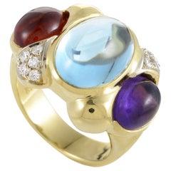 Women's 18 Karat Yellow Gold Diamond and Multi-Gemstone Band Ring