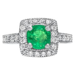 Womens 2.10 Carat Natural Emerald and Diamond Ring in 14 Karat White Gold