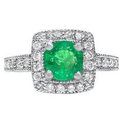 Womens 2.10 Carat Natural Emerald and Diamond Ring in 14 Karat White Gold